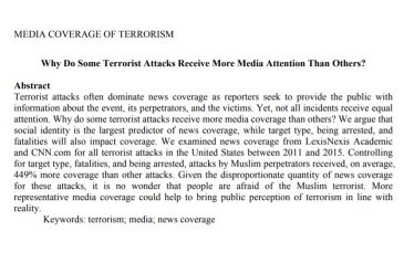 Why Do Some Terrorist Attacks Receive More Media Attention Than Others...